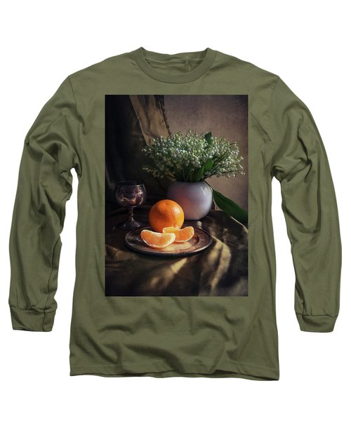 Still Life With Fresh Flowers And Tangerines Long Sleeve T-Shirt by Jaroslaw Blaminsky