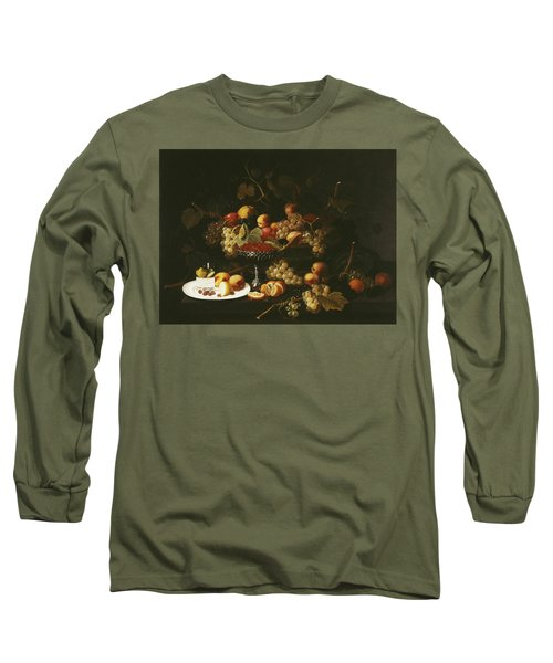 Still Life With Fruit And Sliced Lemon Long Sleeve T-Shirt