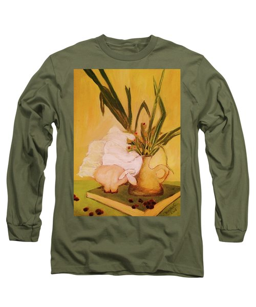 Still Life With Funny Sheep Long Sleeve T-Shirt by Manuela Constantin