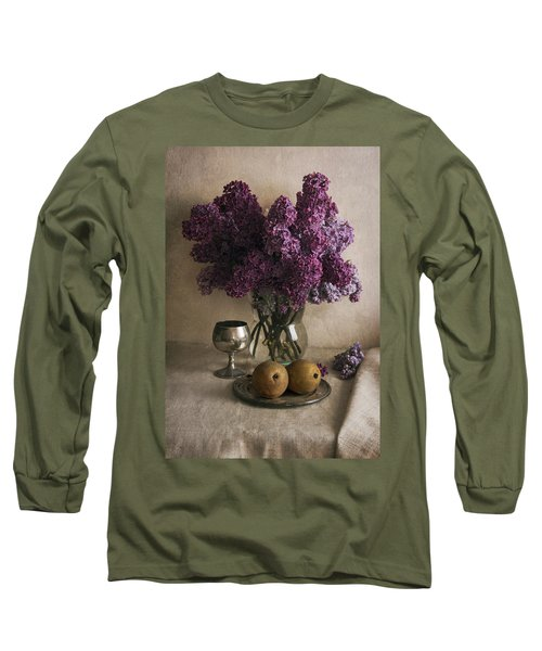 Long Sleeve T-Shirt featuring the photograph Still Life With Pears And Fresh Lilac by Jaroslaw Blaminsky