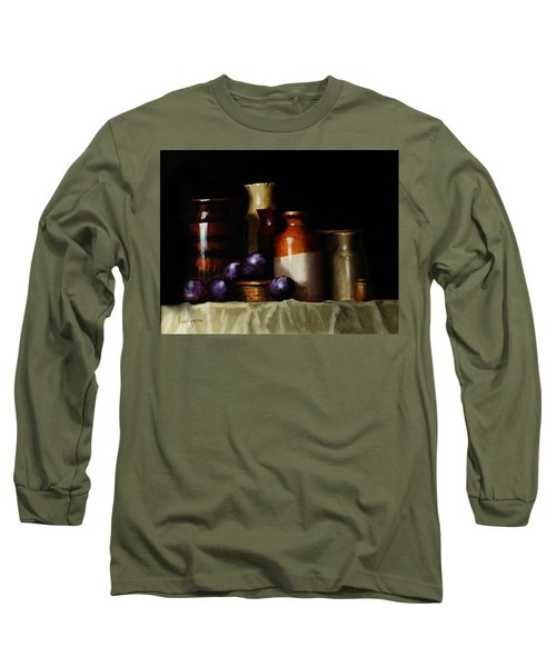 Still Life With Plums Long Sleeve T-Shirt by Barry Williamson
