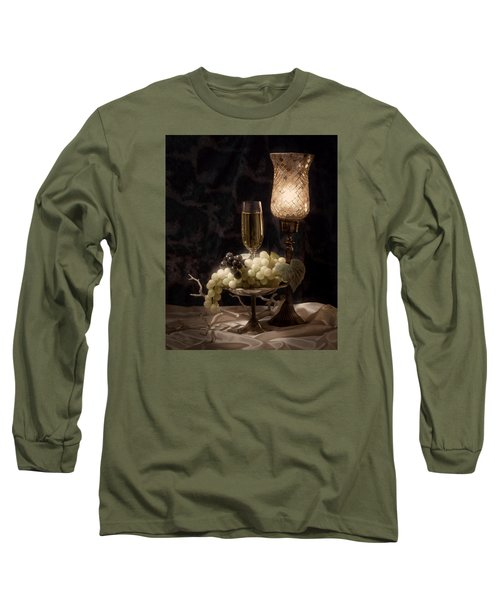 Still Life With Wine And Grapes Long Sleeve T-Shirt by Tom Mc Nemar
