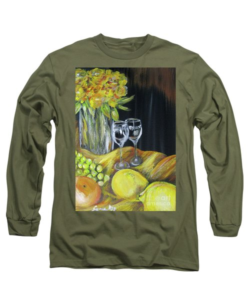 Still Life With Wine Glasses, Roses And Fruit. Painting Long Sleeve T-Shirt