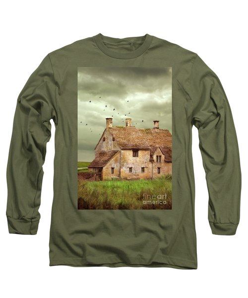 Stone Cottage And Stormy Sky Long Sleeve T-Shirt by Jill Battaglia