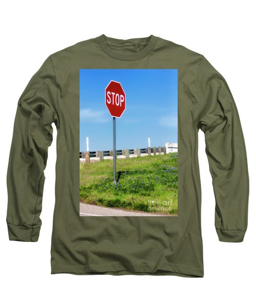 Stop For The Blue Bonnets Long Sleeve T-Shirt by Joan Bertucci