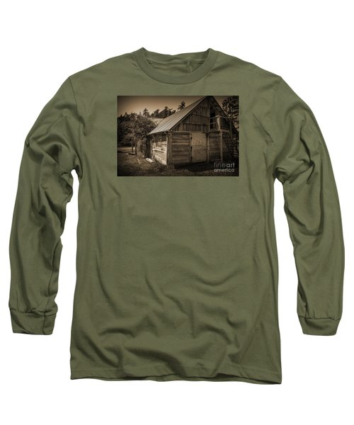 Storage Shed In Sepia Long Sleeve T-Shirt by Kirt Tisdale