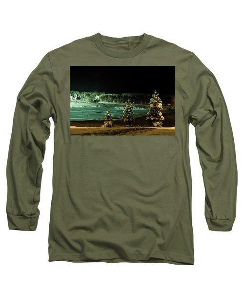 Storforsen In Night Long Sleeve T-Shirt by Tamara Sushko