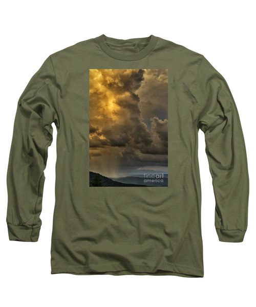 Storm Couds And Mountain Shower Long Sleeve T-Shirt by Thomas R Fletcher