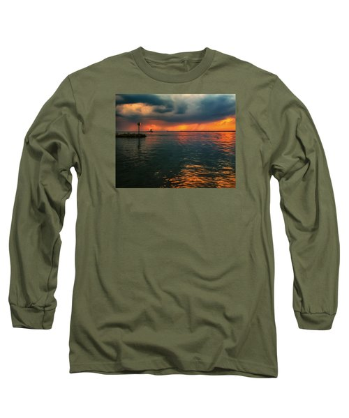 Storm In Lorain Ohio At The Lighthouse Long Sleeve T-Shirt