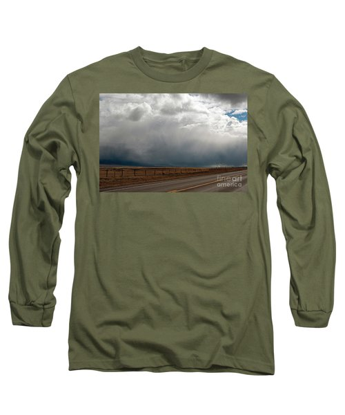 Storm On Route 287 N Of Ennis Mt Long Sleeve T-Shirt by Cindy Murphy - NightVisions