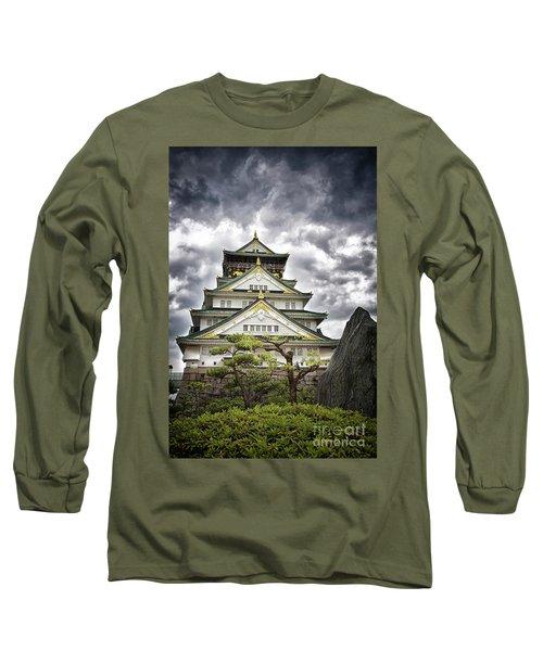 Storm Over Osaka Castle Long Sleeve T-Shirt
