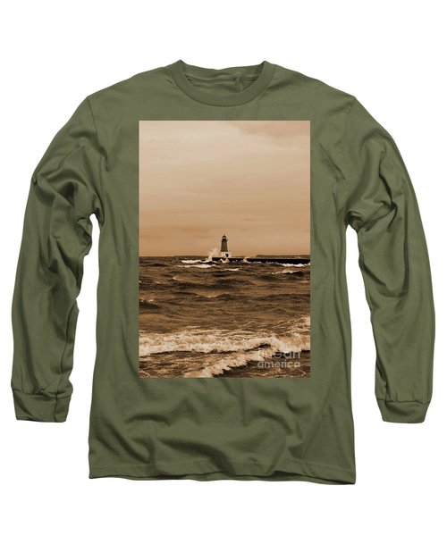 Storm Sandy Effects Menominee Lighthouse Sepia Long Sleeve T-Shirt