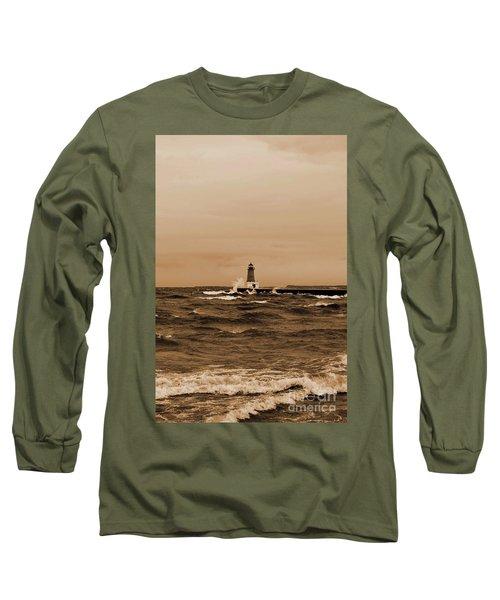 Storm Sandy Effects Menominee Lighthouse Sepia Long Sleeve T-Shirt
