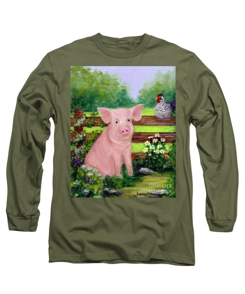 Long Sleeve T-Shirt featuring the painting Storybook Pig by Sandra Estes