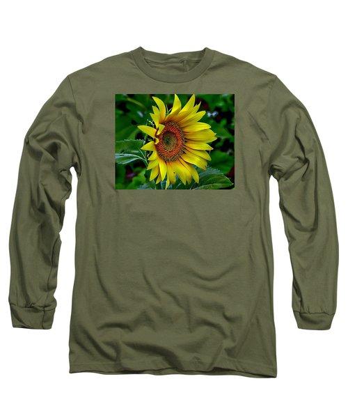Straight Up Sunflower Long Sleeve T-Shirt by Karen McKenzie McAdoo