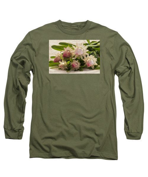 Straw Flowers And Lace Long Sleeve T-Shirt by Sandra Foster