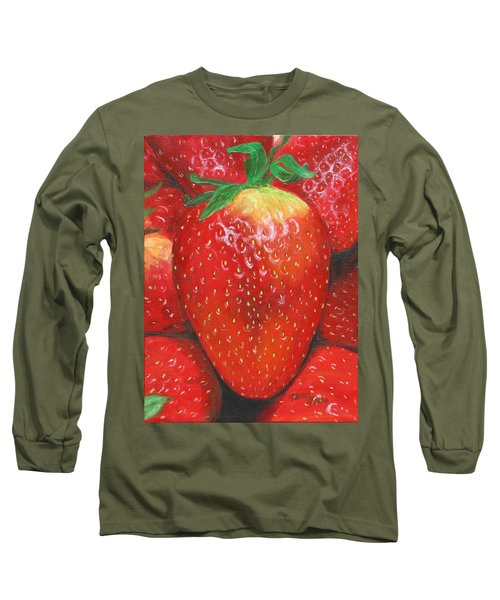 Long Sleeve T-Shirt featuring the painting Strawberries by Nancy Nale