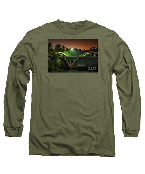 Street Light On Rogue River Bridge Long Sleeve T-Shirt by Jerry Cowart