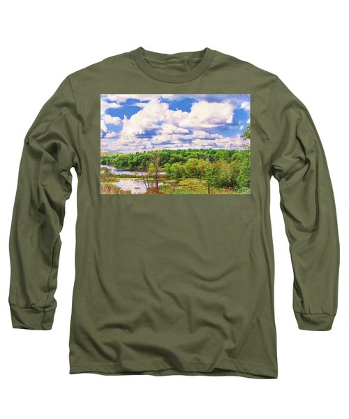 Striking Clouds Above Small Water Inlet And Green Trees Long Sleeve T-Shirt