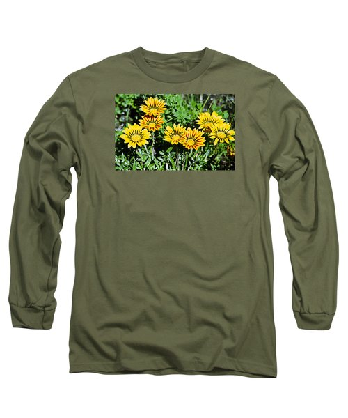 Striped Daisies--film Image Long Sleeve T-Shirt by Matthew Bamberg