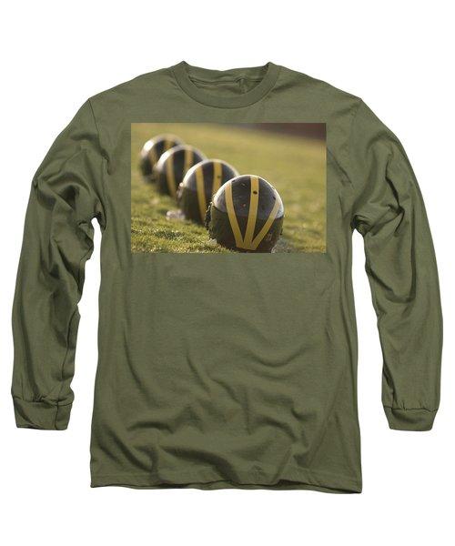 Striped Helmets On Yard Line Long Sleeve T-Shirt