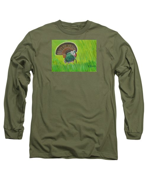 Strutting Turkey In The Grass Long Sleeve T-Shirt by Margaret Harmon
