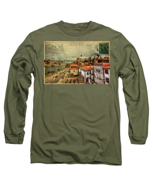 stylish retro postcard of Porto Long Sleeve T-Shirt