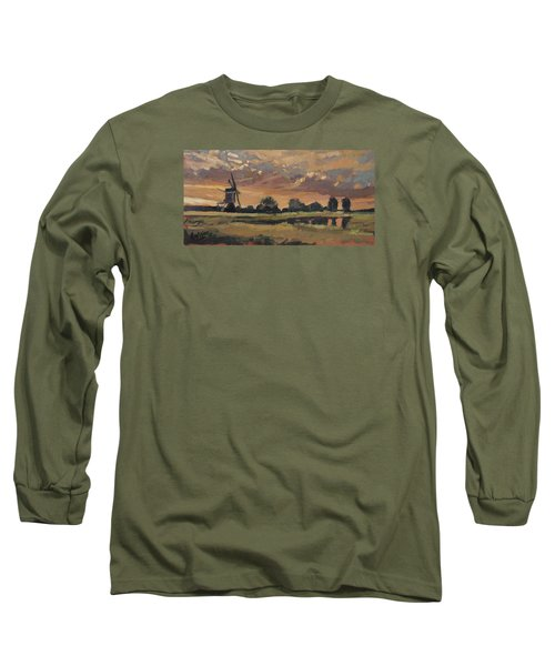 Long Sleeve T-Shirt featuring the painting Summer Evening In The Polder by Nop Briex