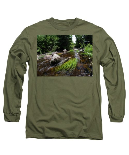 Summer Flow Of Water Near Rangeley Maine  -63322 Long Sleeve T-Shirt