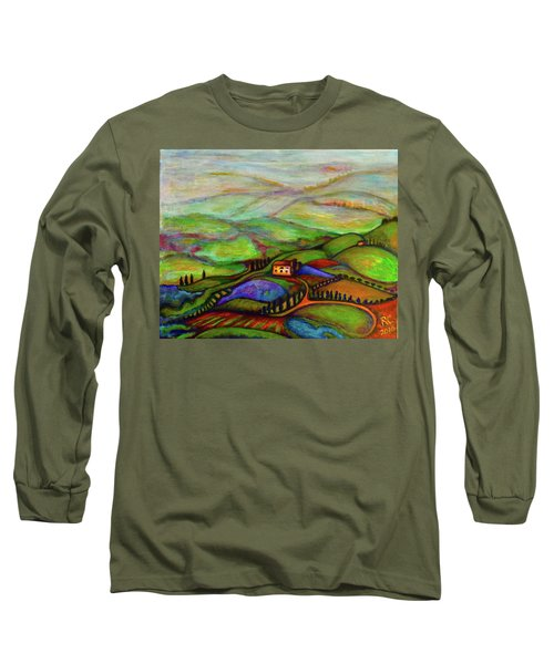 Long Sleeve T-Shirt featuring the painting Summer Hills by Rae Chichilnitsky