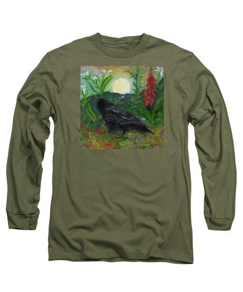 Summer Moon Raven Long Sleeve T-Shirt by FT McKinstry
