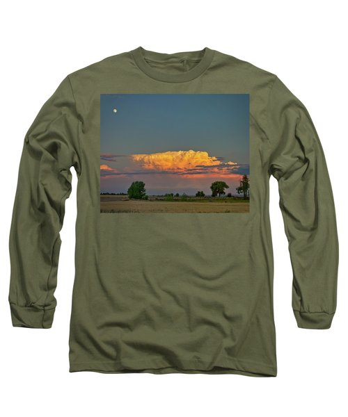 Long Sleeve T-Shirt featuring the photograph Summer Night Storms Brewing And Moon Above by James BO Insogna
