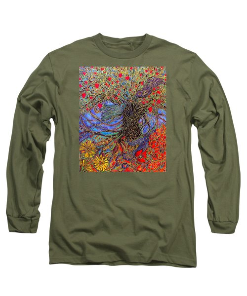 Long Sleeve T-Shirt featuring the painting Enchanted Garden by Rae Chichilnitsky