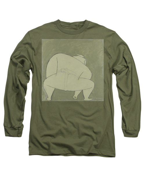 Long Sleeve T-Shirt featuring the painting Sumo Wrestler by Ben Gertsberg