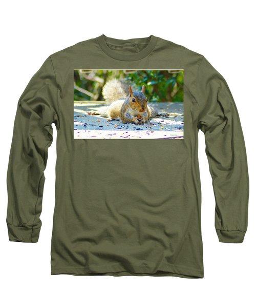 Sun Bathing Squirrel Long Sleeve T-Shirt by Kathy Kelly