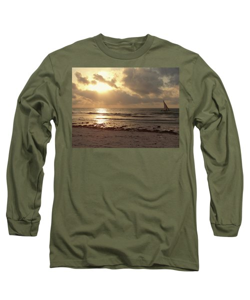 Sun Rays On The Water With Wooden Dhow Long Sleeve T-Shirt