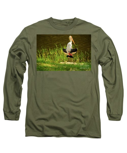 Sunbathing Delta-winged Painted Stork  Long Sleeve T-Shirt