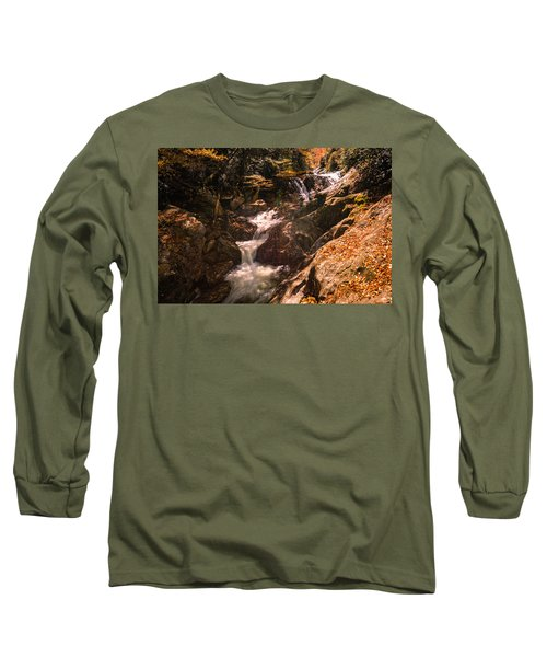 Long Sleeve T-Shirt featuring the photograph Sunburst Falls by Cathy Donohoue