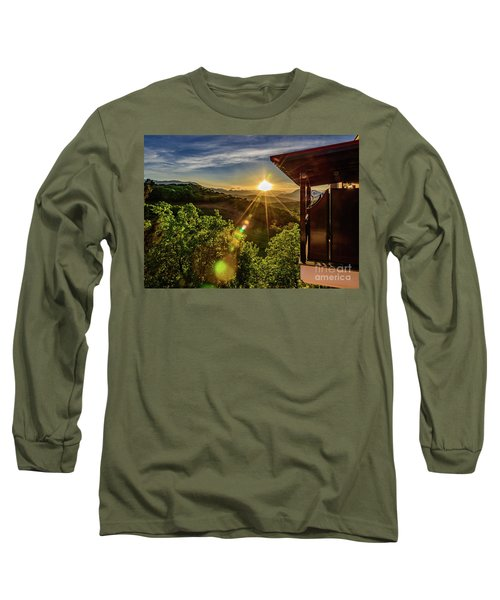 Sunburst View From Dellas Boutique Hotel Near Meteora In Kastraki, Kalambaka, Greece Long Sleeve T-Shirt