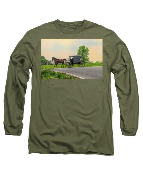 Sunday Ride At Sunset On Ronks Road Long Sleeve T-Shirt