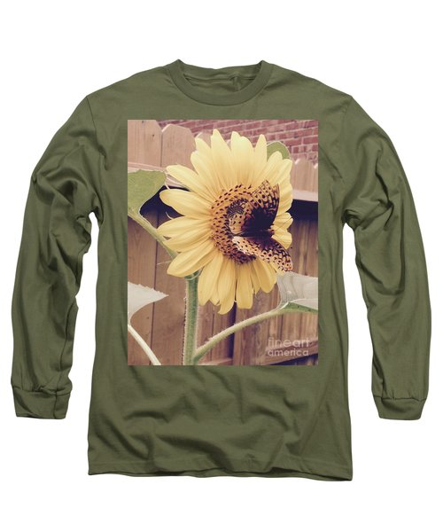 Sunflower And Butterfly Long Sleeve T-Shirt