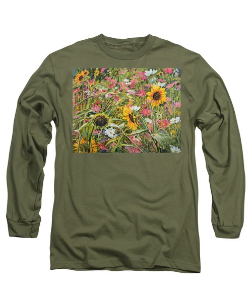 Sunflower And Cosmos Long Sleeve T-Shirt by Steve Spencer