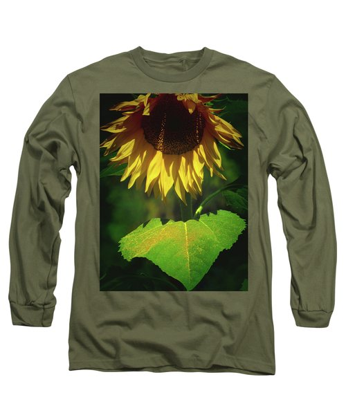 Sunflower And Gold Leaf - Beauty In The Garden - Floral Photography Long Sleeve T-Shirt