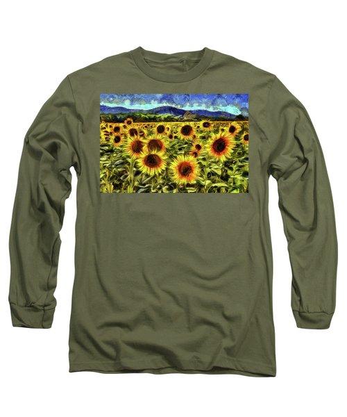 Sunflower Field Van Gogh Long Sleeve T-Shirt