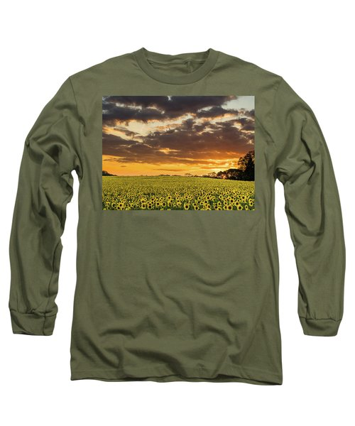 Sunflower Fields Sunset Long Sleeve T-Shirt
