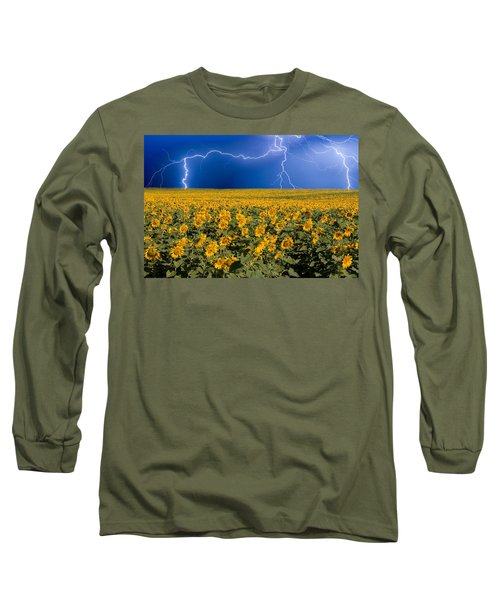 Sunflower Lightning Field  Long Sleeve T-Shirt