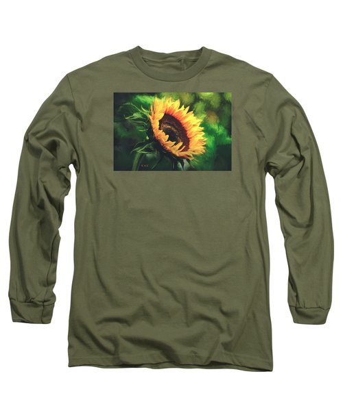 Long Sleeve T-Shirt featuring the painting Sunflower by Rose-Maries Pictures