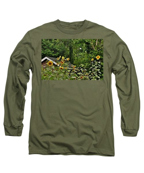 Sunflowers At The Good Earth Market Long Sleeve T-Shirt