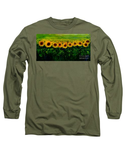 Sunflowers In A Row Long Sleeve T-Shirt