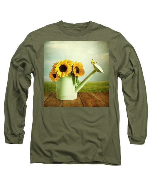 Sunflowers In A Watering Can Long Sleeve T-Shirt